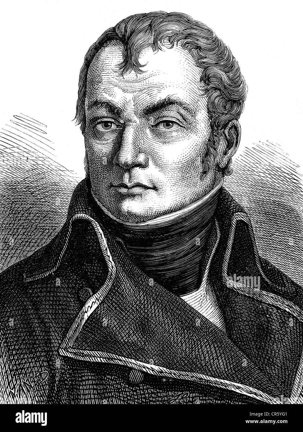 Oudinot, Nicolas Charles, 25.4.1767 - 13.9.1847, French general, portrait, based on portrayal circa 1795, wood engraving, - Stock Image