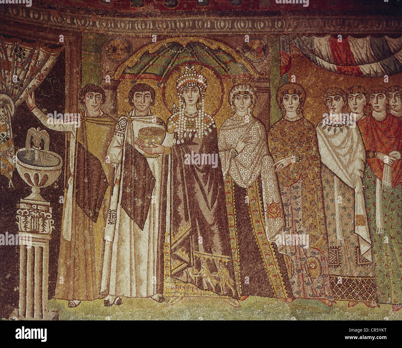 Theodora I, 497 - 28.6.548, Byzantine Empress, mosaic, Basilica of San Vitale, Ravenna, circa 540, Romanesque, early - Stock Image