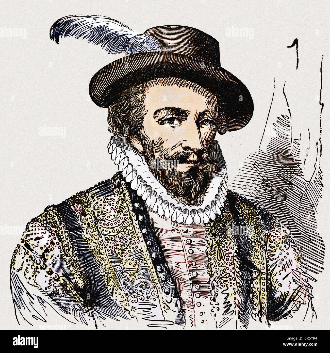 Raleigh, Walter, circa 1554 - 29. 10.1618, English navigator, portrait, wood engraving, 19th century, later coloured, - Stock Image