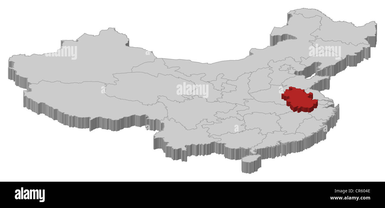 Political Map Of China With The Several Provinces Where Anhui Is