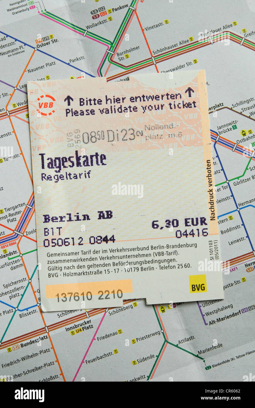 BERLIN, GERMANY. A validated tageskarte (travel card) on a map showing the Berlin U- and S-Bahn public transport Stock Photo