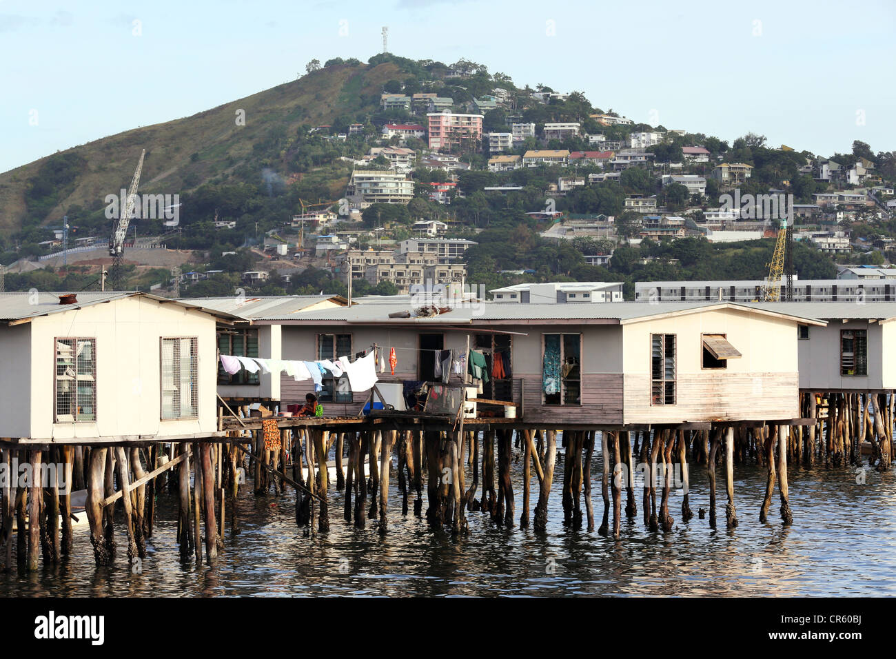 Houses on stilts, Port Moresby, Capitol of Papua New Guinea - Stock Image