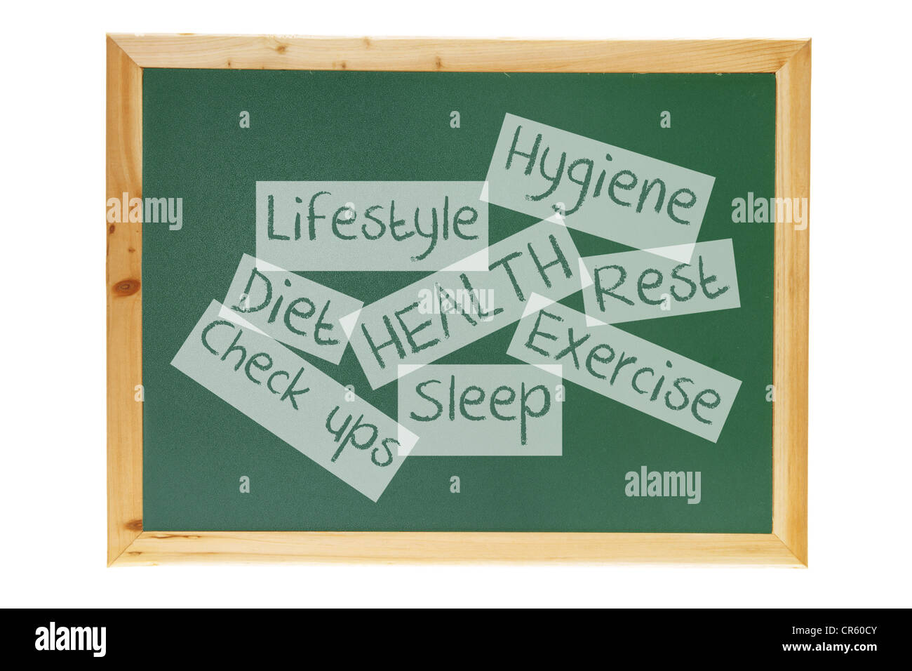 Blackboard with Health Concept Messages - Stock Image