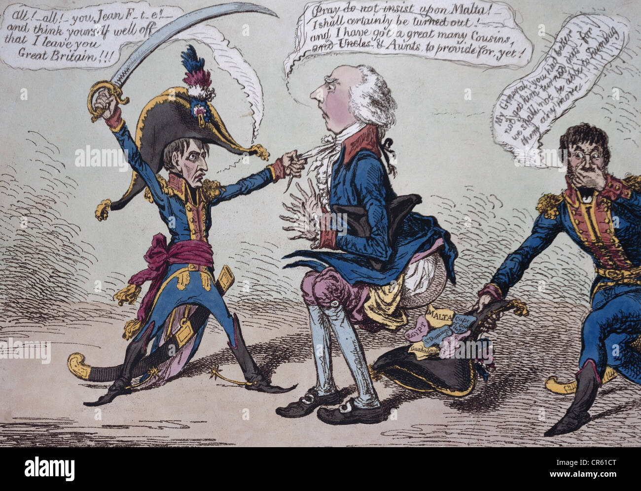 "1821, French Emperor 2.12.1804 - 22.6.1815, ""Evacuation of Malta"",  political caricature by James Gillray, 25,2 cm x 35,3 cm, coloured  aquatinta, London, ..."