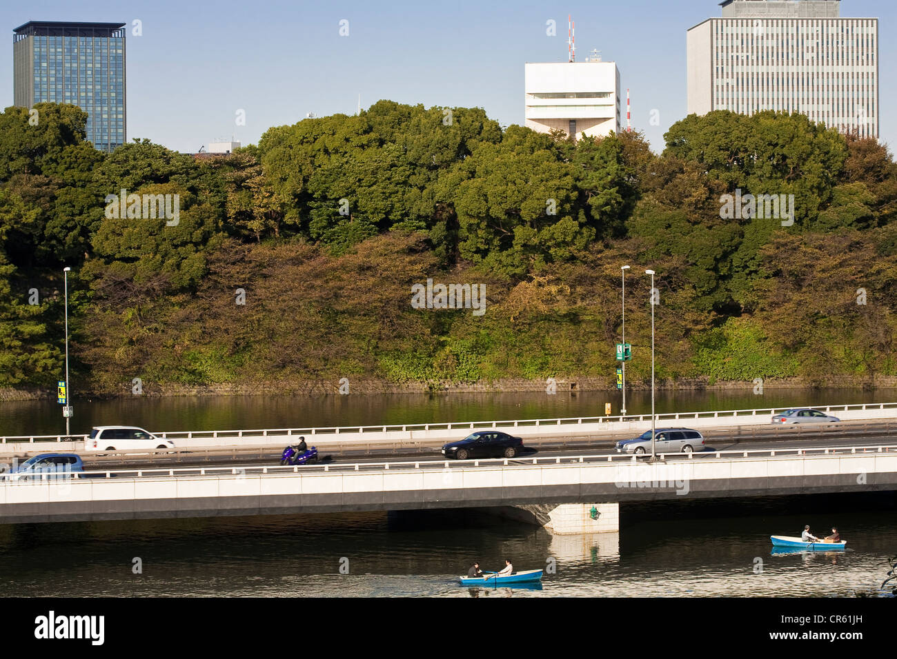 Japan, Honshu Island, Tokyo, Marunouchi, view from the East Garden of the Imperial Palace on the moats where is - Stock Image