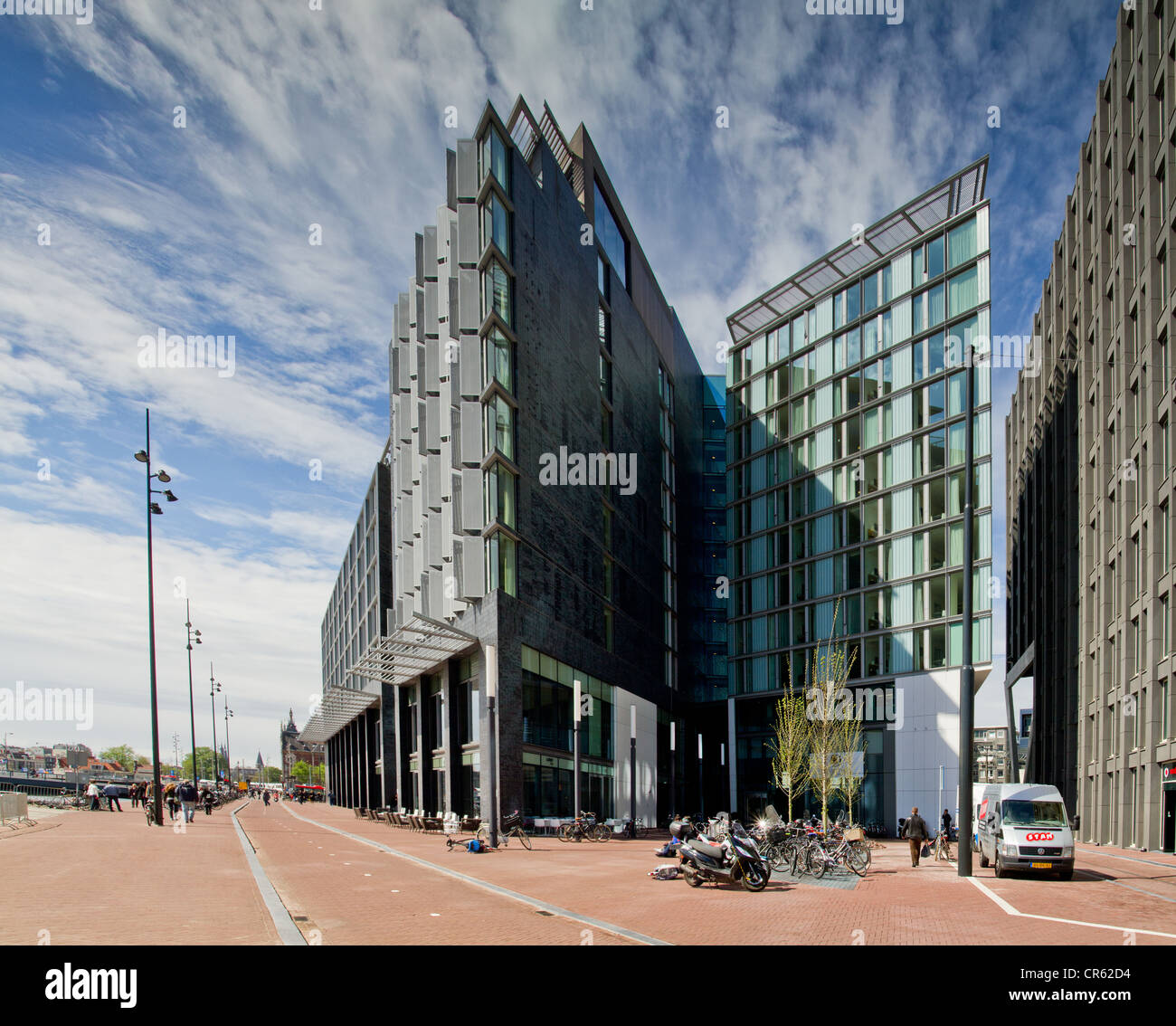 Modern Architecture at Oosterdokseiland in Amsterdam - Stock Image