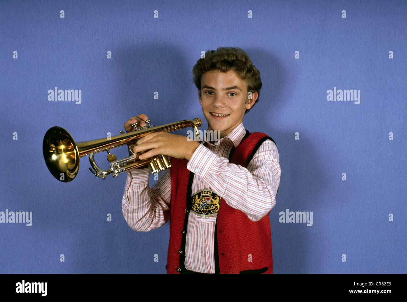 Mross Stefan, * 26.11.1975, German musician (rumpeter), winner of the Folk Music Grand Prix, 1989, , Additional - Stock Image