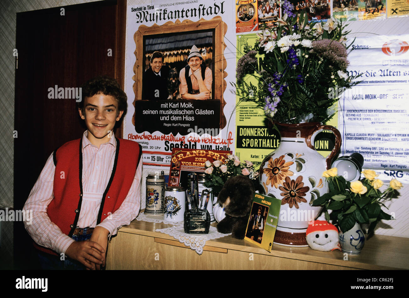 Mross Stefan, * 26.11.1975, German musician (rumpeter), winner of the Folk Music Grand Prix, 1989, in his home in - Stock Image