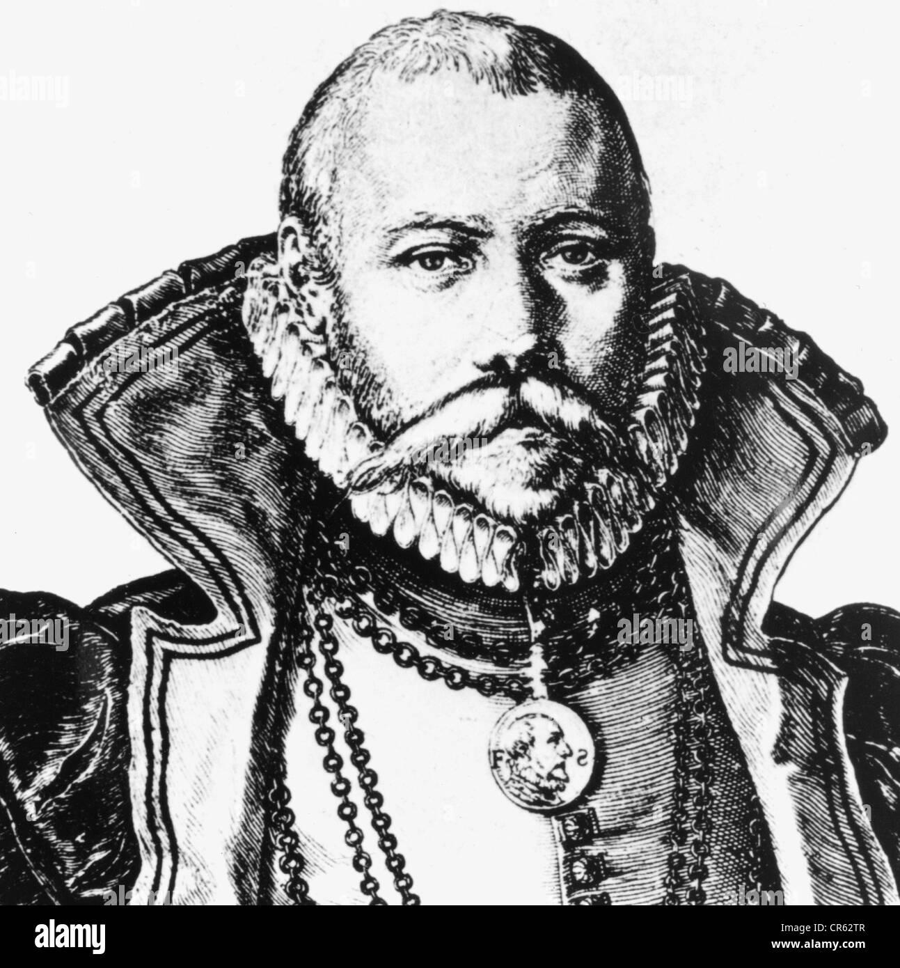 Brahe, Tycho, 14.12.1546 - 24.10.1601, Danish astronomer,  portrait, copper engraving by Jakob de Gheyn, 1587, detail, - Stock Image