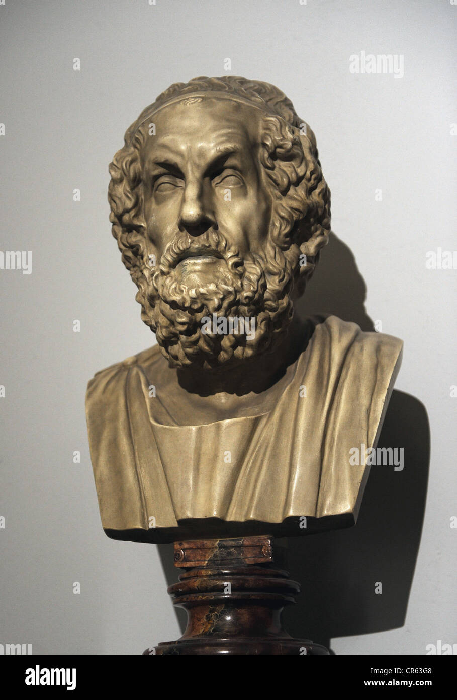 Homer (c.8th century). Greek epic poet. Modern copy of a hellenistic original dated between 200-150 BC. Pergamon Stock Photo