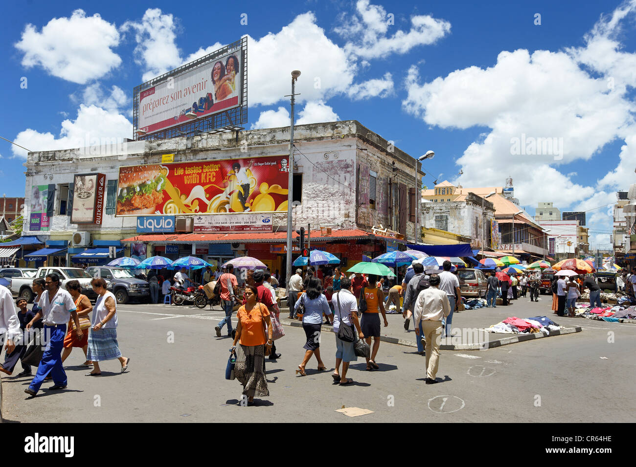 Mauritius, Port Louis District, Port Louis, hustle and bustle pedestrian street around the Central Market Stock Photo