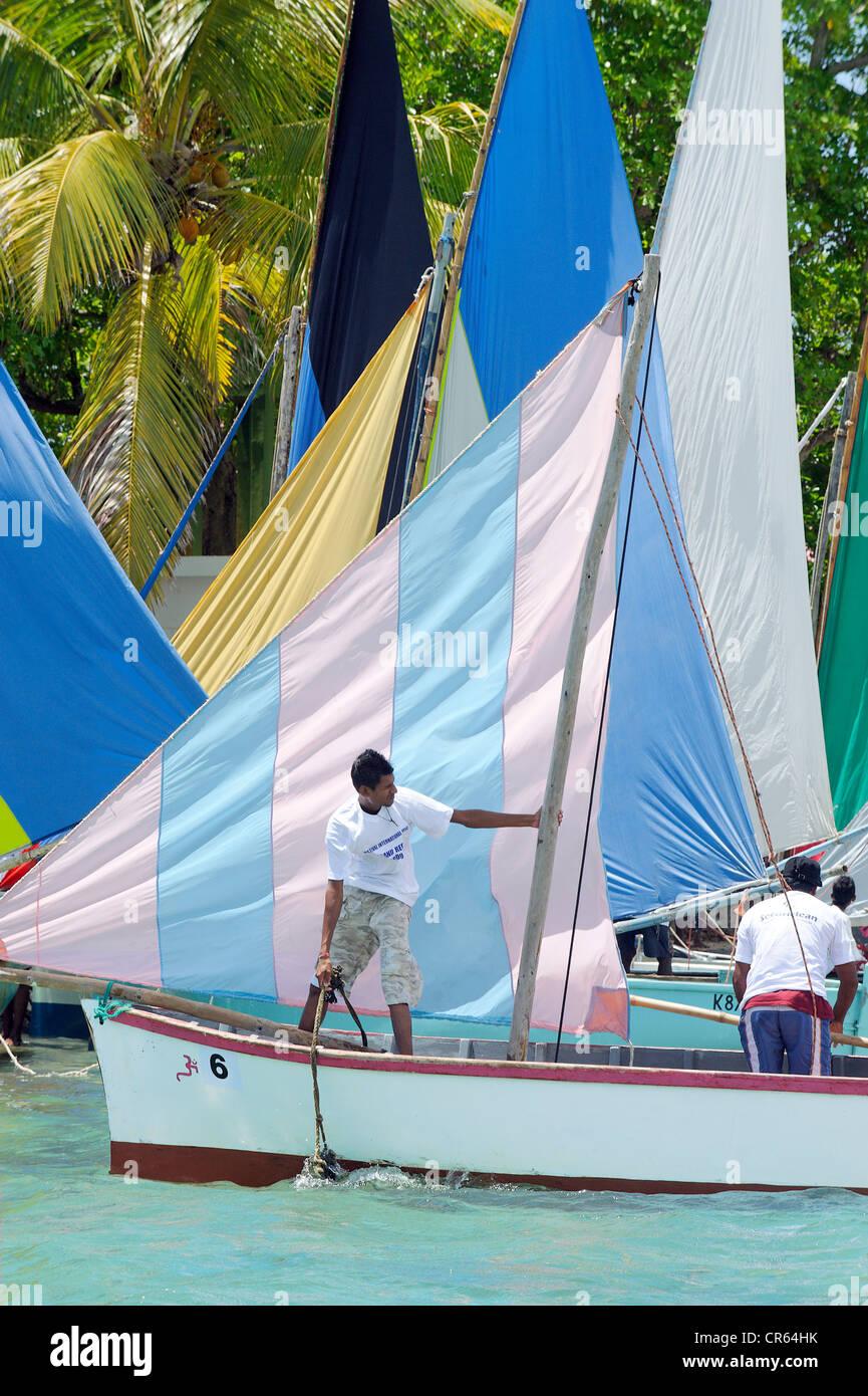 Mauritius, South Coast, Grand Port District, Mahebourg, Ile du Mouchoir Rouge, Fishermen Regatta in the Mahebourg - Stock Image