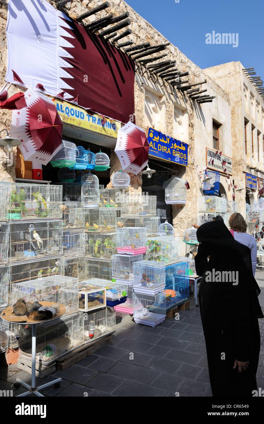 Animal market in Souq al Waqif, the oldest souq or bazaar in the country, , Qatar, Arabian Peninsula, Persian Gulf, - Stock Image
