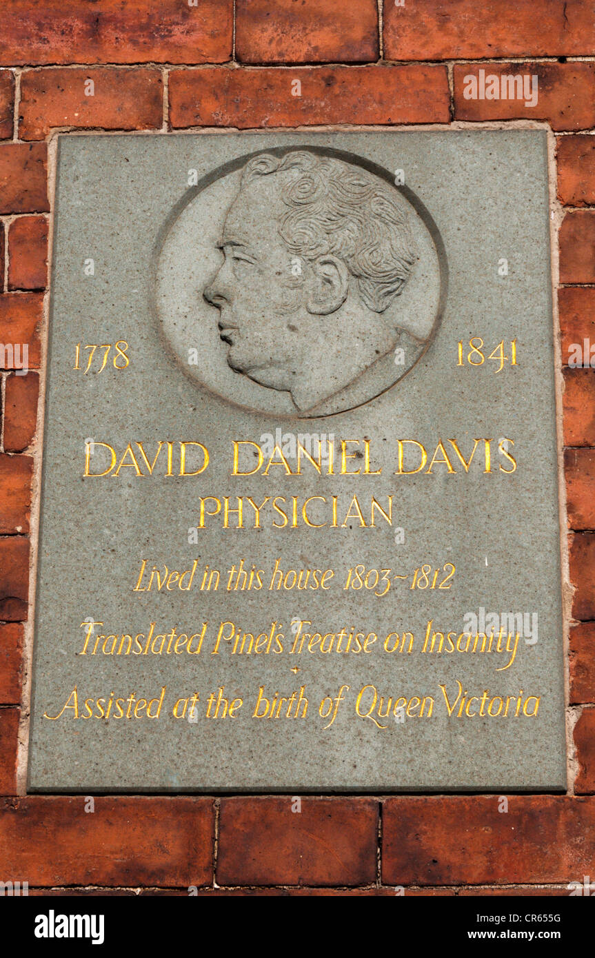 A commemorative plaque marks the house occupied by David Daniel Davis, a physician who assisted at the birth of - Stock Image