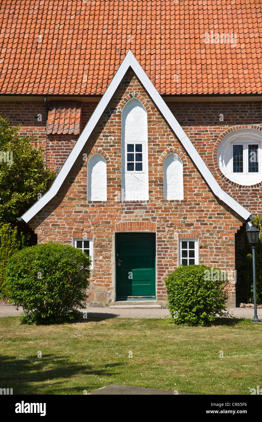 Church of St. Juergen, south facade, Grube, Baltic Sea, Schleswig-Holstein, Germany, Europe - Stock Image