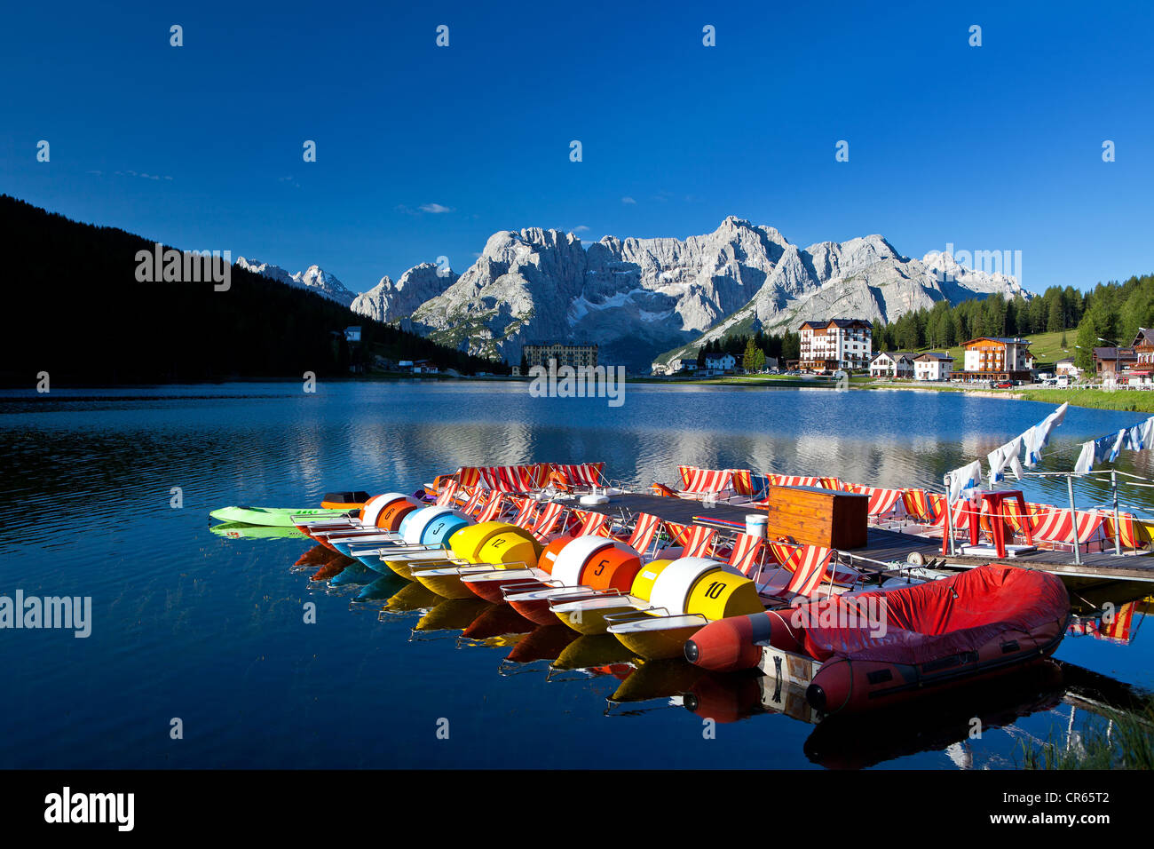 Pedal boats, Lago Misurina lake, Misurina, Alto Adige, Italy, Europe - Stock Image