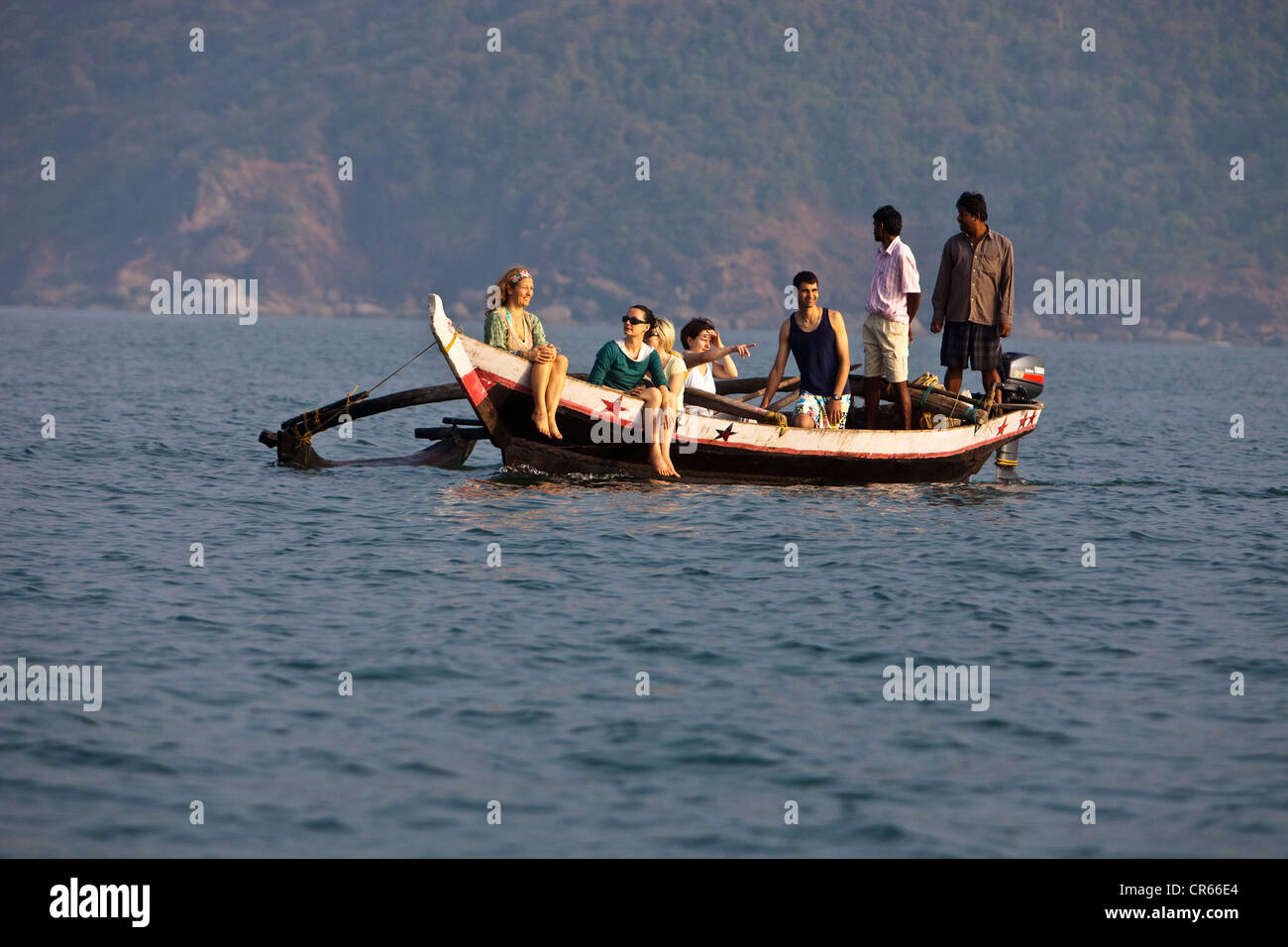 India, Goa State, Palolem, boat excursion to meet dolphins - Stock Image