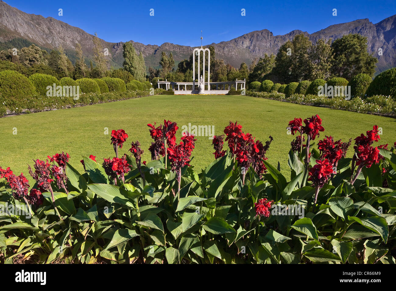 South Africa, Western Cape, Franschhoek, Huguenot Monument of 1948, created in honour of the influence of French - Stock Image