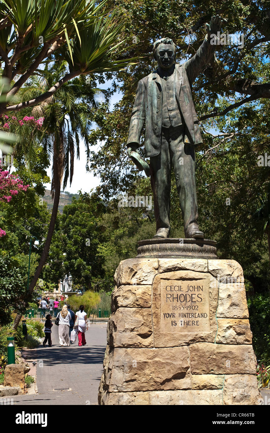 South Africa, Western Cape, Cape Town, Company's Garden, statue of Cecil Rhodes, Prime Minister of the Cape - Stock Image