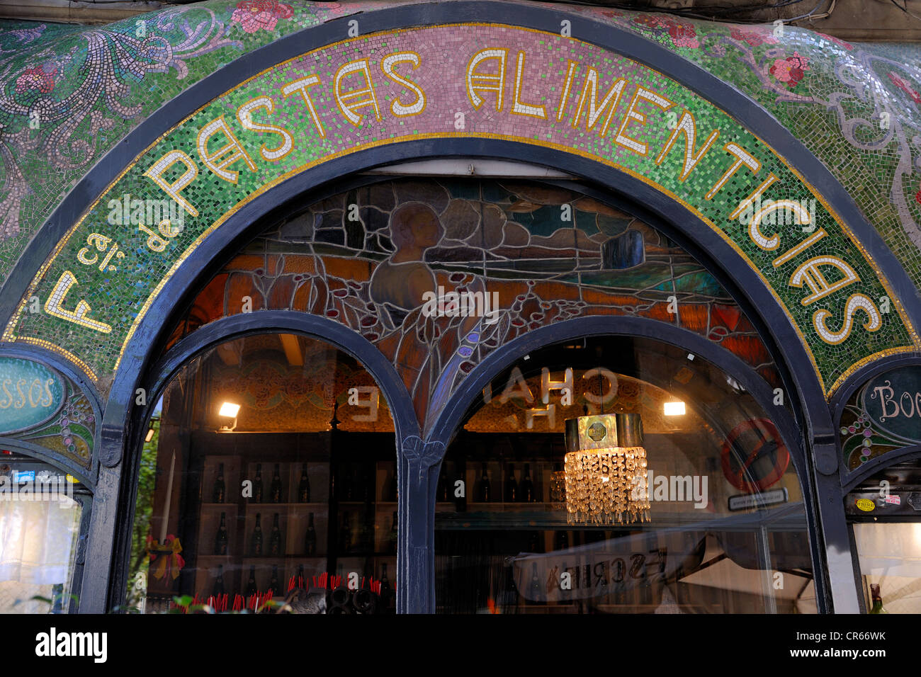 Spain, Catalonia, Barcelona, La Rambla, Escriba chocolate maker and confectionner, Art Nouveau facade of the Modernist - Stock Image