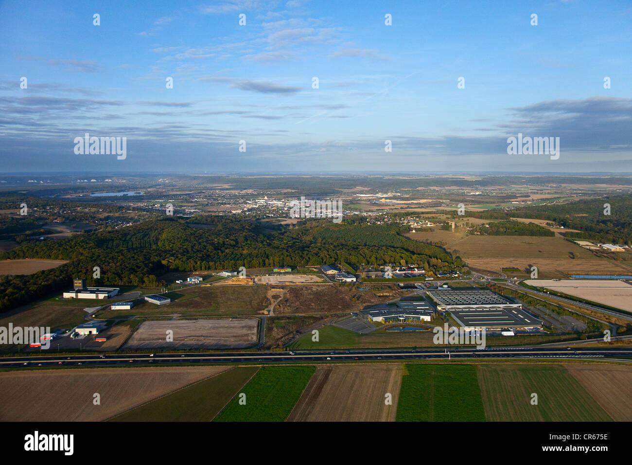 France, Eure, Saint Aubin sur Gaillon, ZA des Champs Chouette (aerial view) - Stock Image