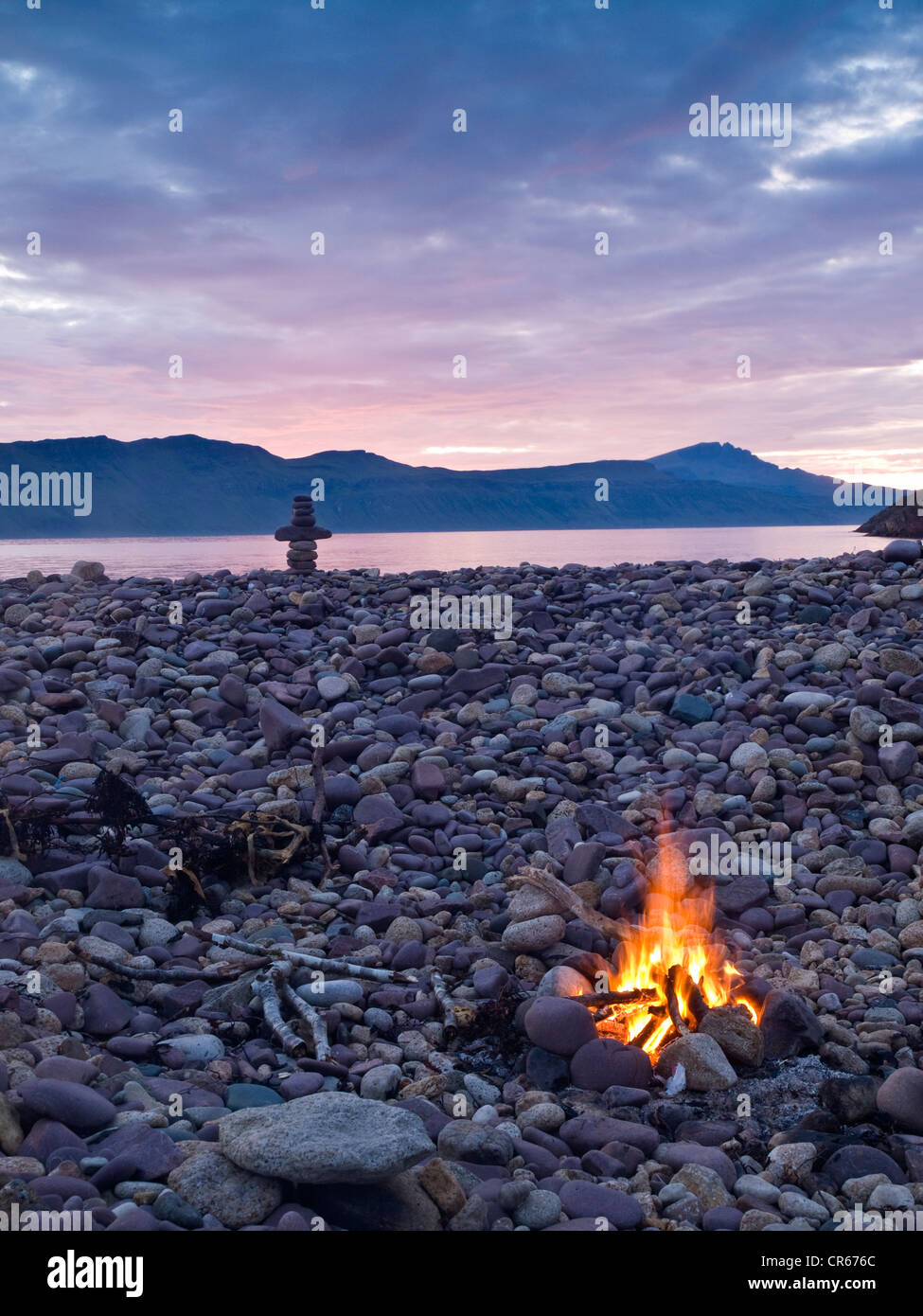 driftwood campfire on the beach, Raasay, Scotland - Stock Image
