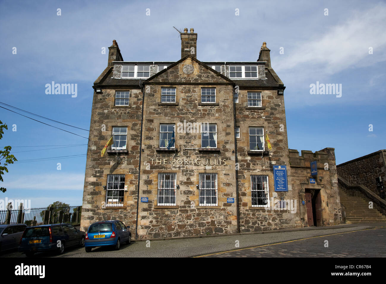 the portcullis hotel formerly the old grammar school in the historic old town of stirling scotland uk - Stock Image