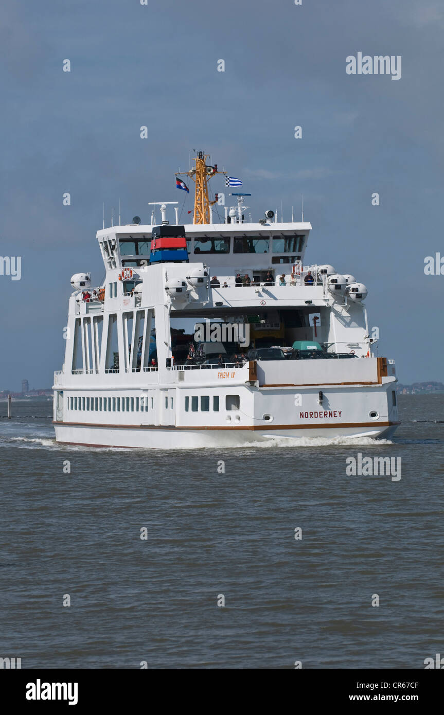 Ferry 'Frisia IV', most modern of the ferries of the Norden-Frisia shipping company, travelling on the Norddeich - Stock Image