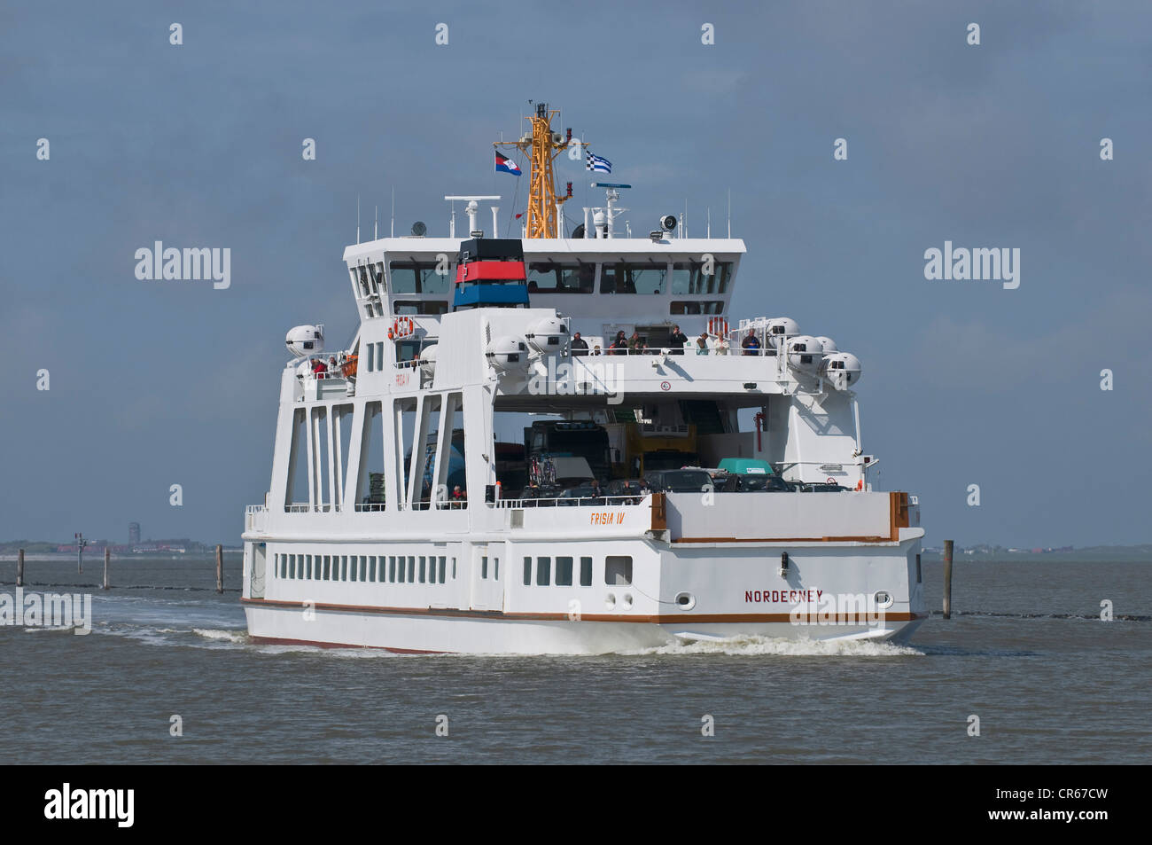 Ferry 'Frisia 4', double-ended ferry on the Norderney - Norddeich route, Wadden Sea UNESCO World Heritage - Stock Image