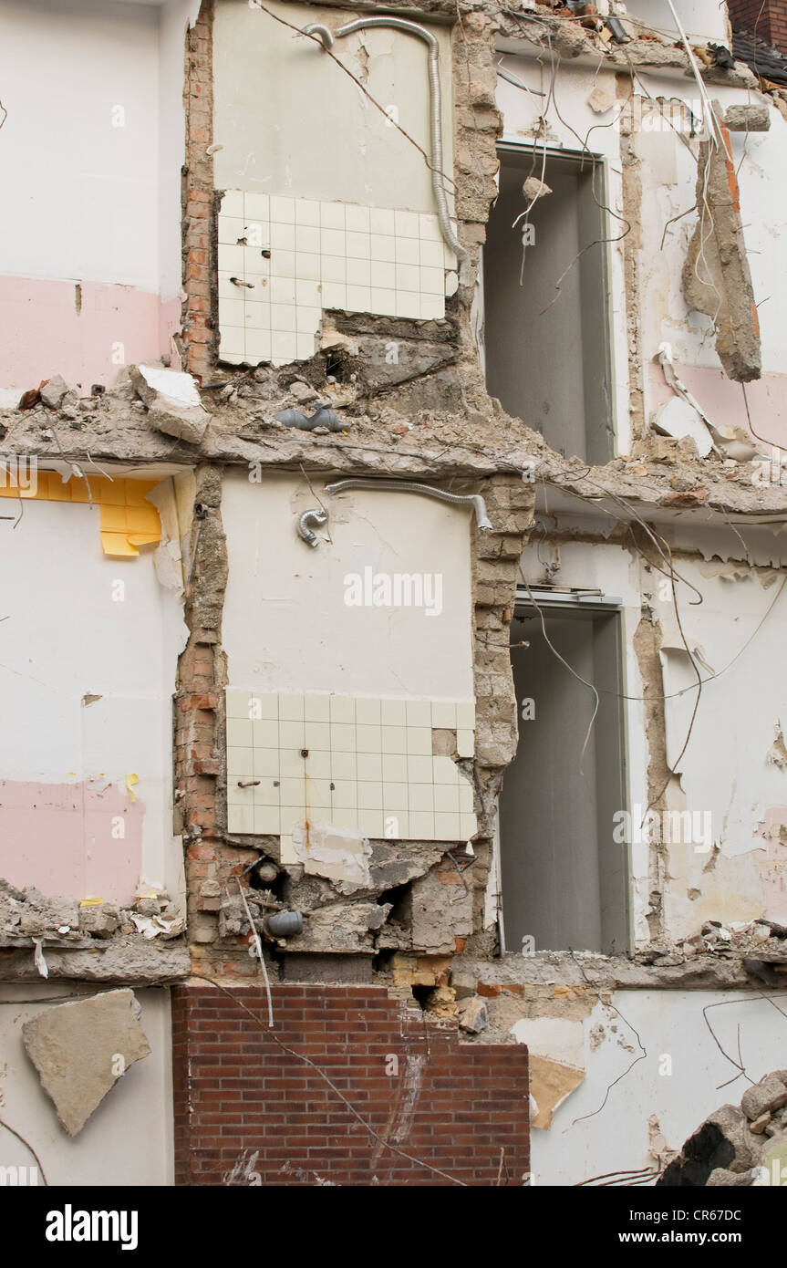 Demolition of house, room walls still standing, Bonn, Germany, Europe - Stock Image