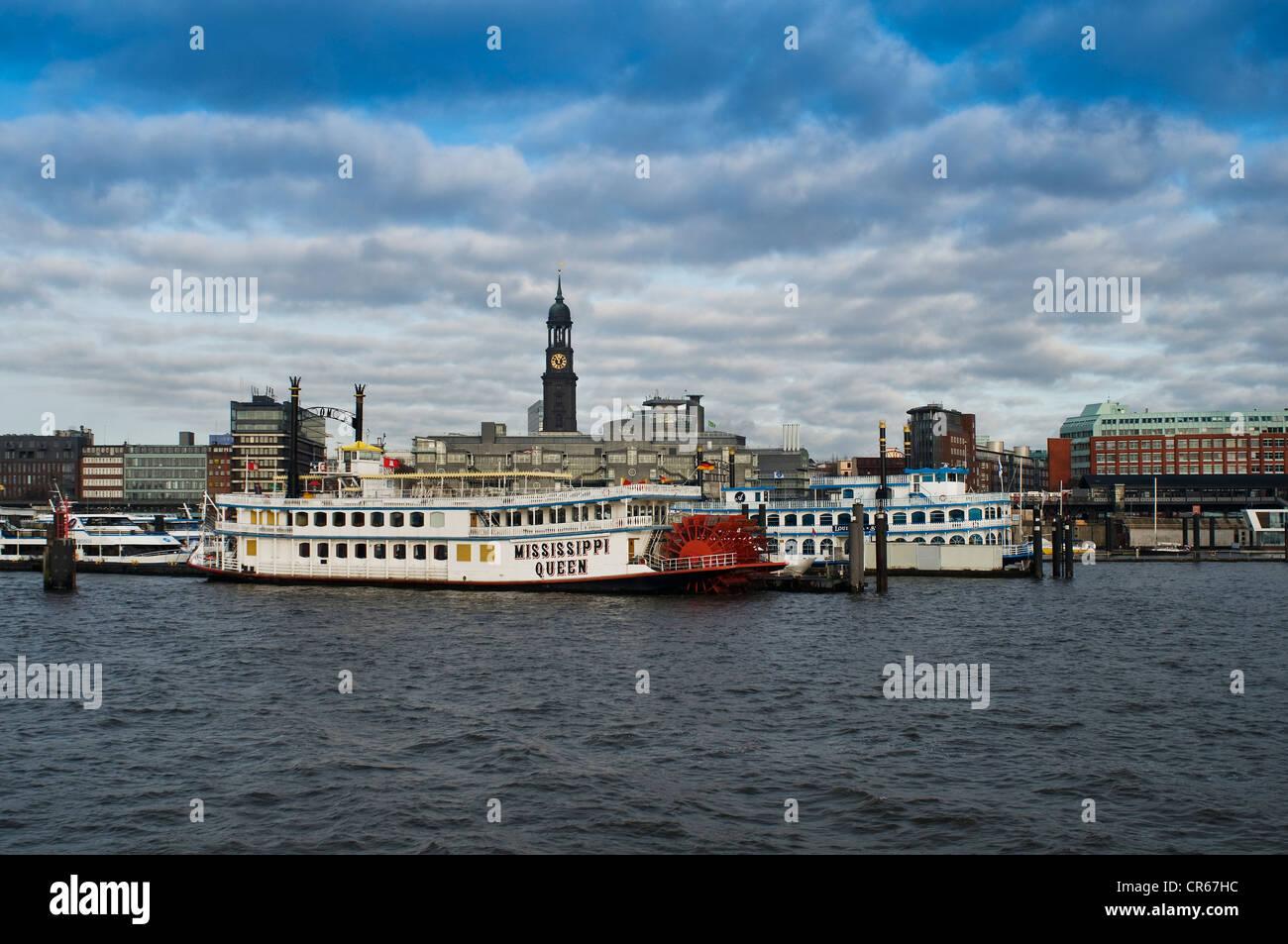 Mississippi Queen paddle wheeler, Port of Hamburg, St. Michaelis Church behind, Hamburg, Germany, Europe - Stock Image
