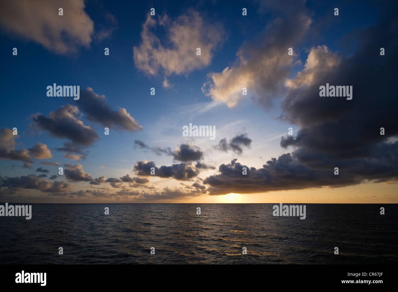Dramatic sunset, Lower Saxon Wadden Sea, UNESCO World Heritage Site, Lower Saxony, Germany, Europe - Stock Image