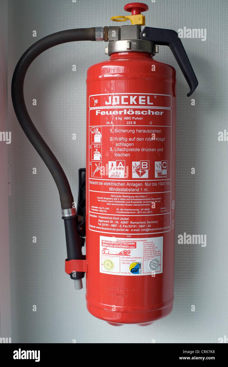 Jockel fire extinguisher - Stock Image