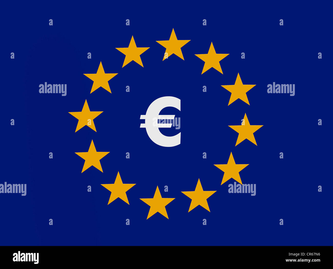 Euro symbol within the 12 stars of the European Union, European common currency, monetary union - Stock Image