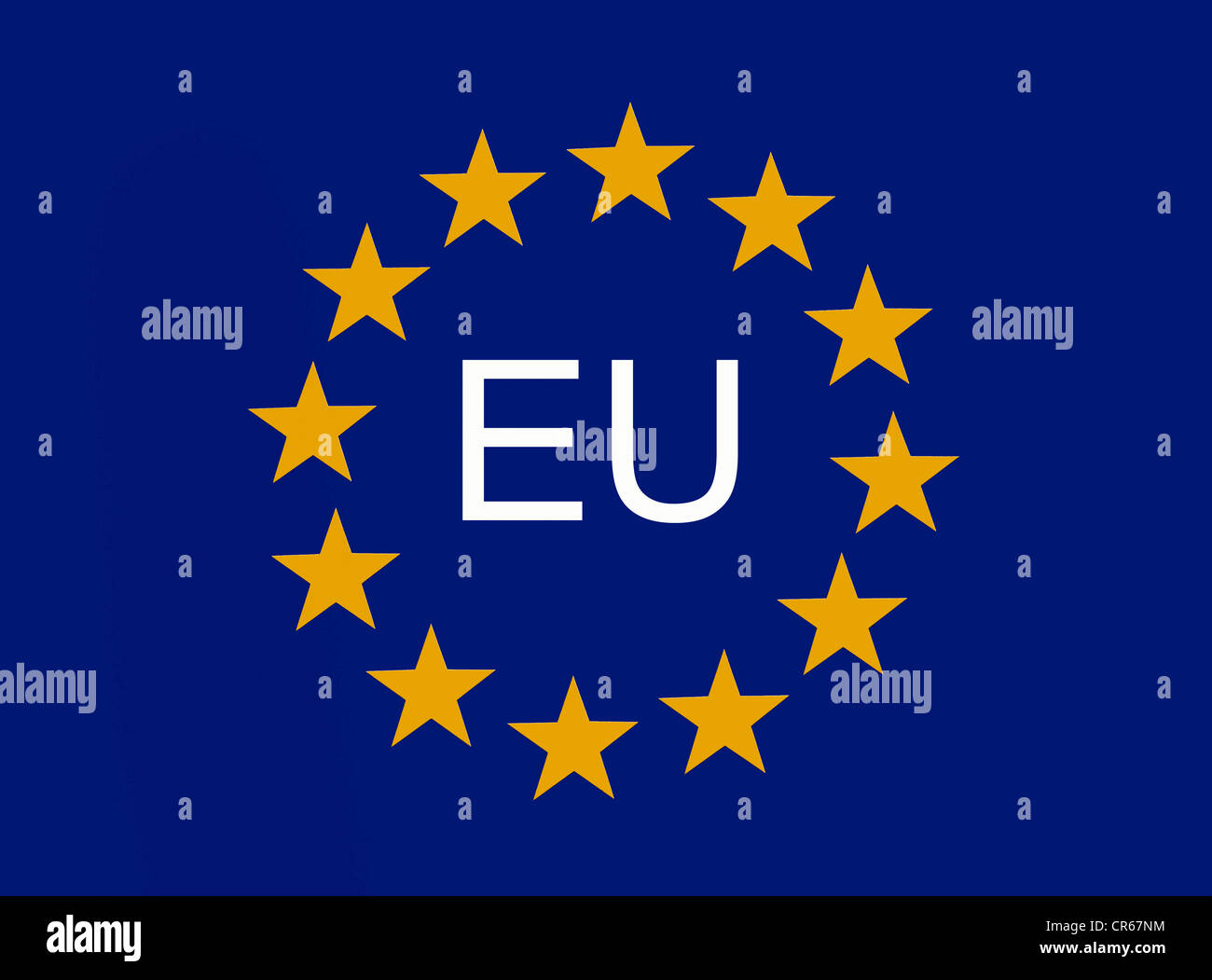 European symbol, 12 EU stars of the European Union - Stock Image