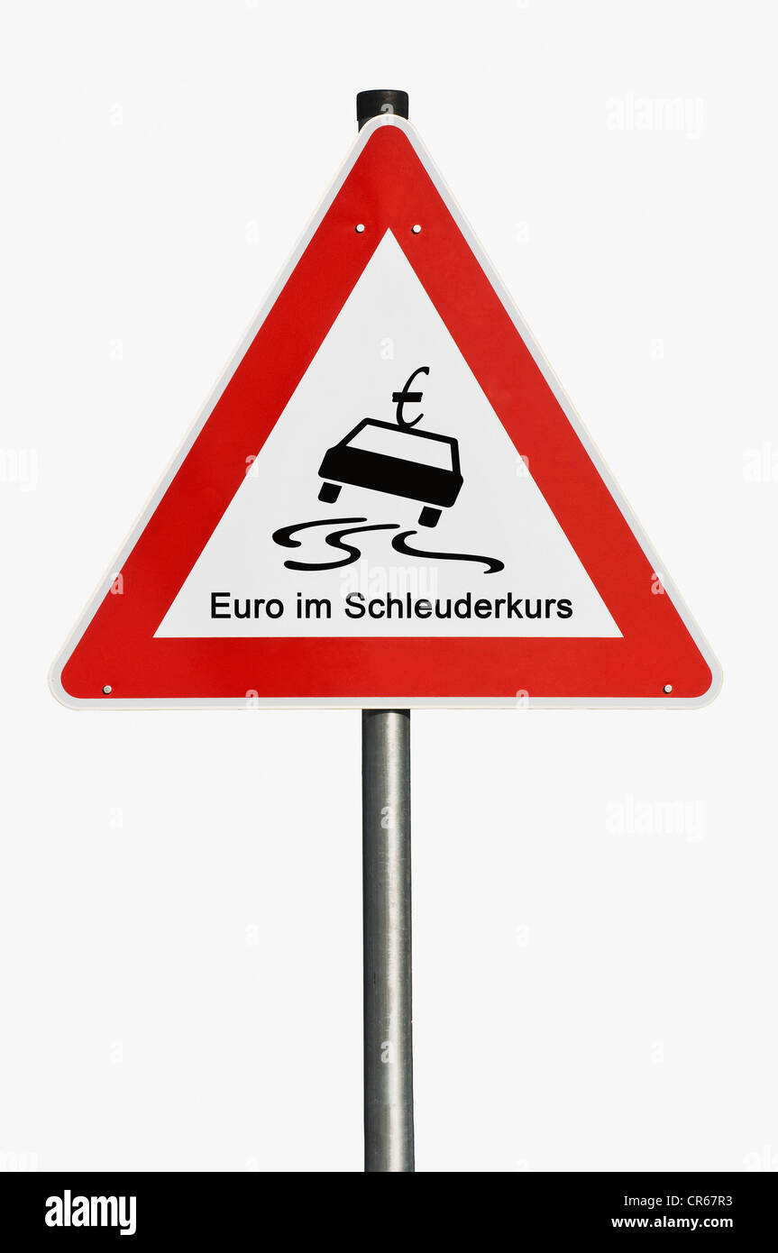 Traffic sign, danger ahead, euro in a spin, symbolic image - Stock Image