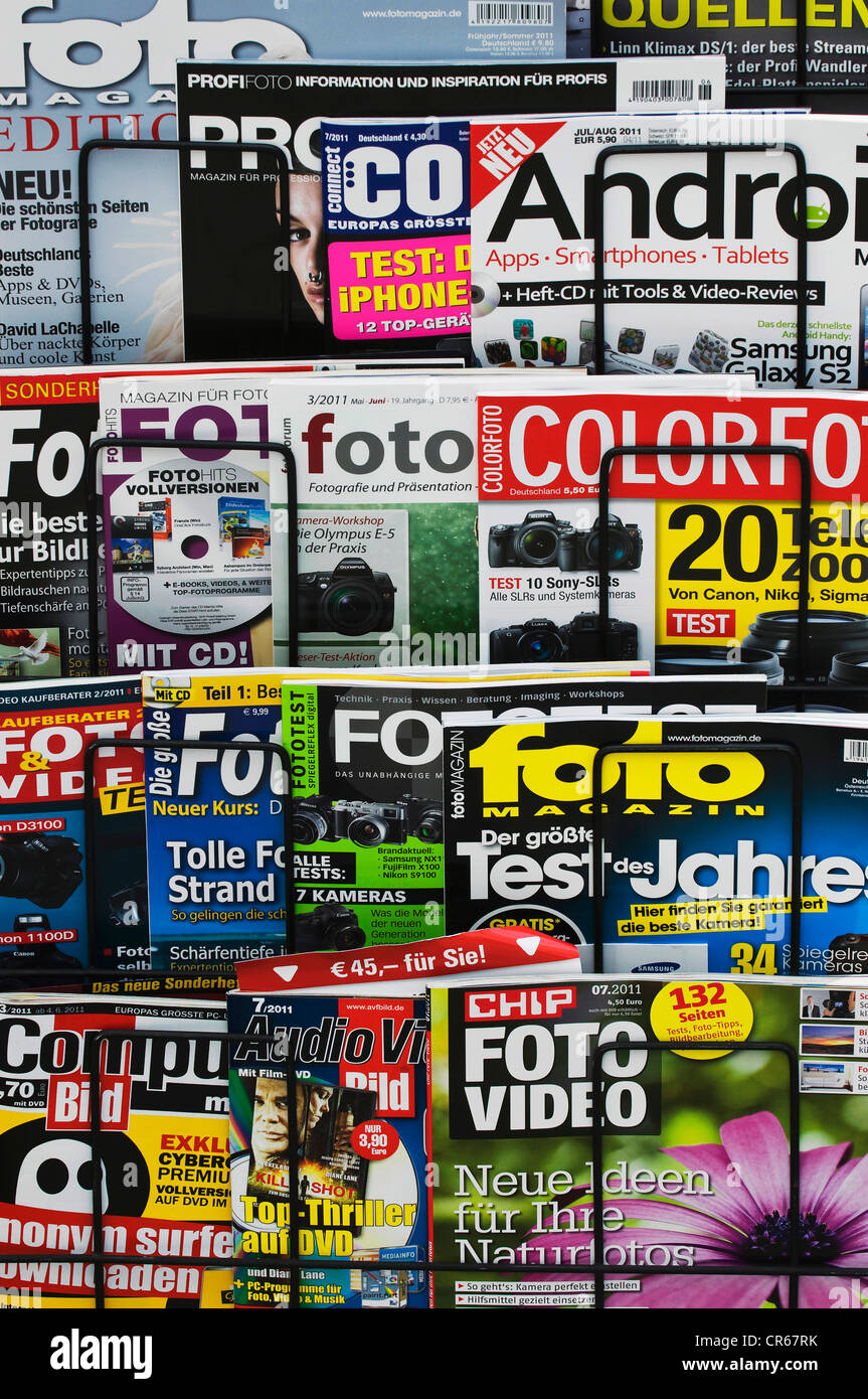 German photographic magazines, magazines on a display stand - Stock Image