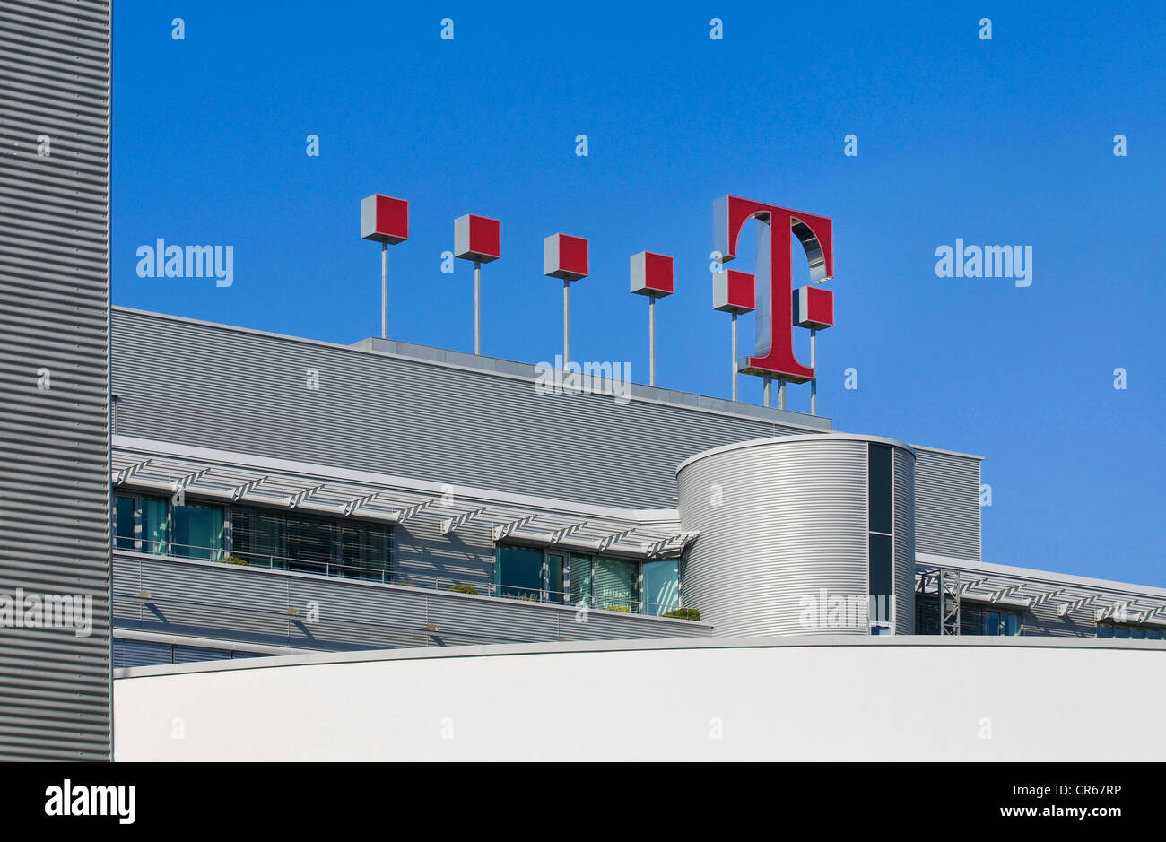 Logo of Deutsche Telekom, on the roof of Deutsche Telekom headquarters in Bonn, North Rhine-Westphalia, PublicGround - Stock Image