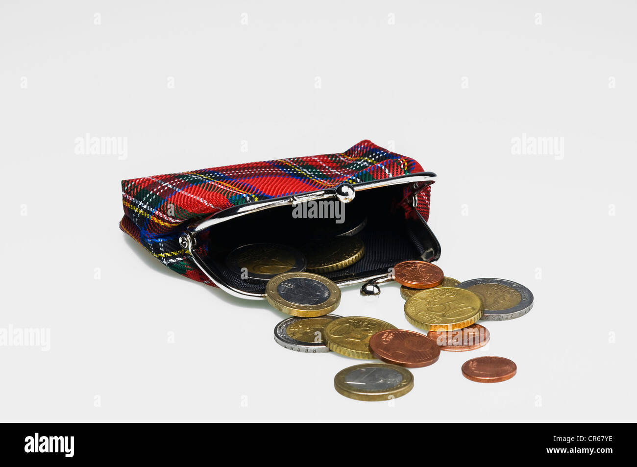 Wallet or purse with Scottish tartan pattern and euro coins, symbolic image for saving, avarice - Stock Image