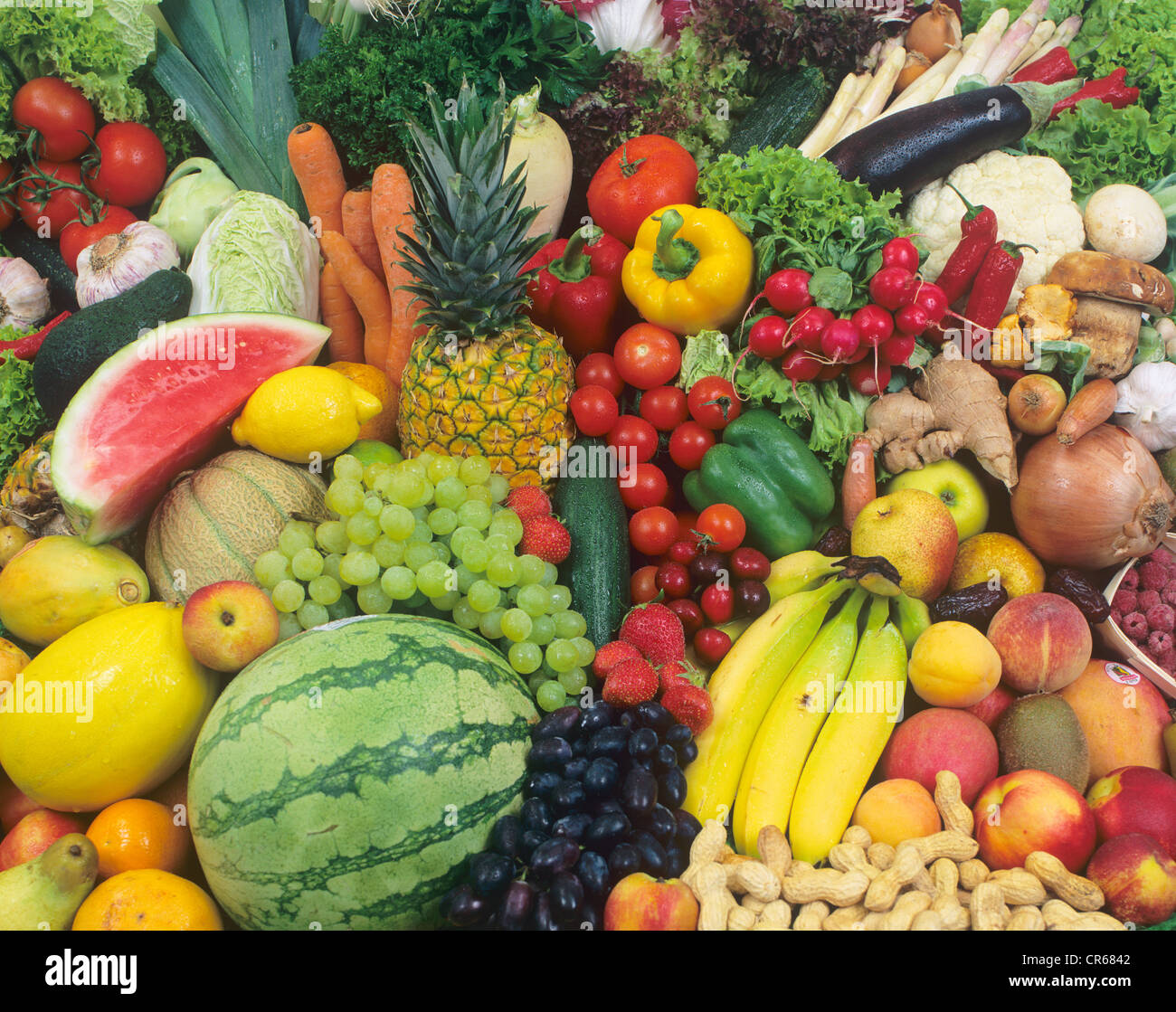 Fruits and vegetables, colourful mix - Stock Image