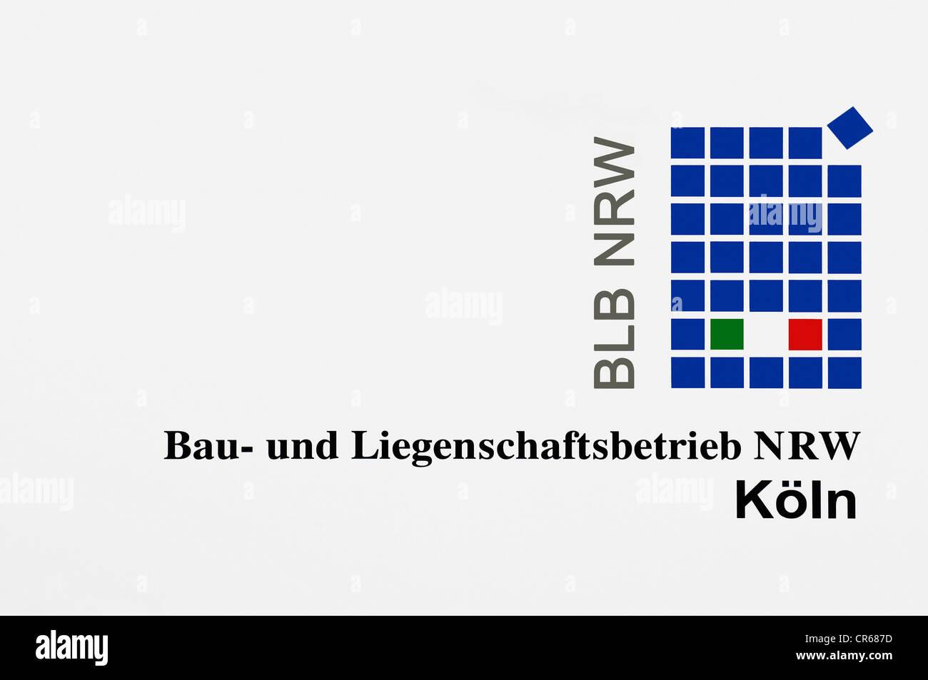 Logo of 'BLB NRW Bau- und Liegenschaftsbetrieb NRW Koeln', construction and property company in Cologne, - Stock Image