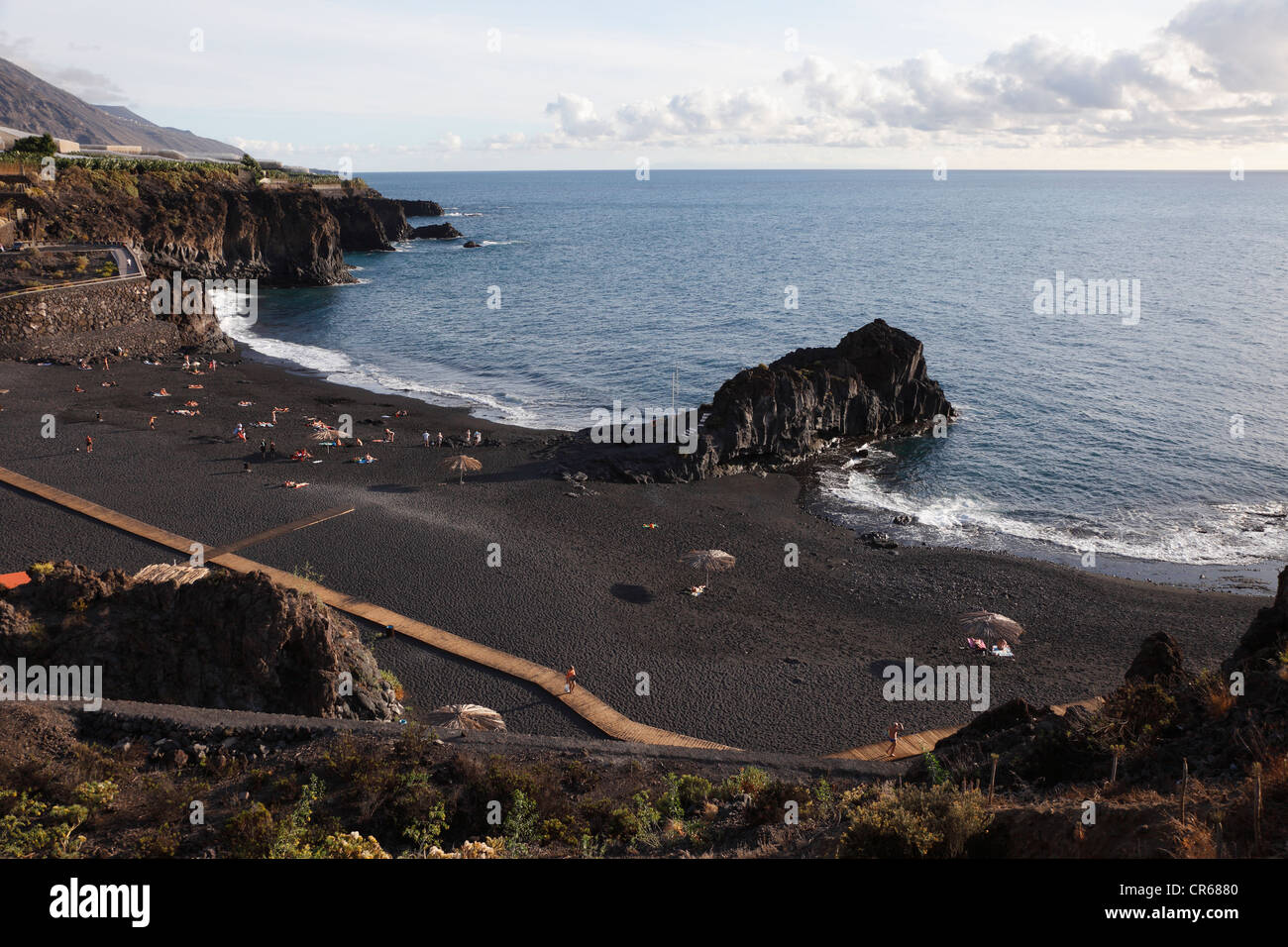 Spain, La Palma, People at Charco Verde Beach - Stock Image