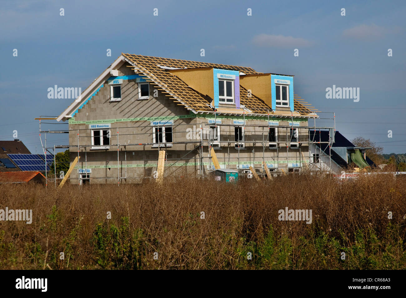 Newly constructed building, multi-family house, construction site, PublicGround - Stock Image