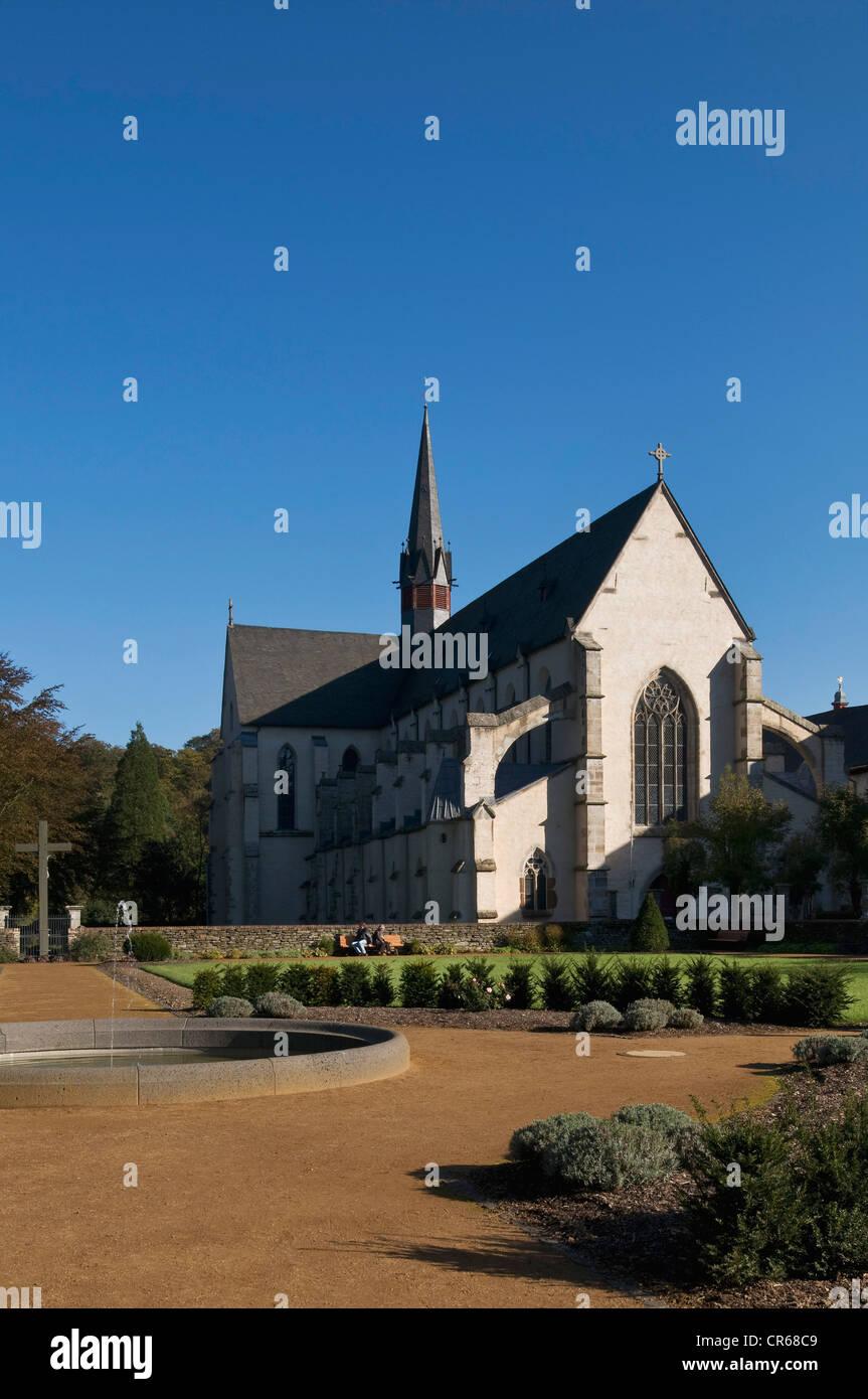 Marienstatt Abbey, view from the baroque garden towards the Abbey Church, Streithausen, Rhineland-Palatinate, Germany, - Stock Image