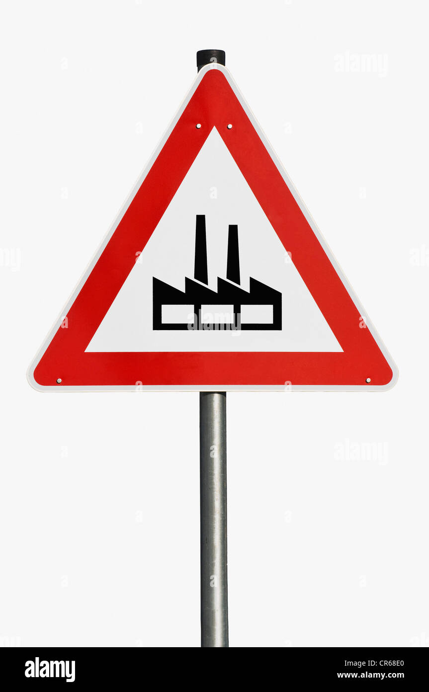 Warning sign, industrial area - Stock Image