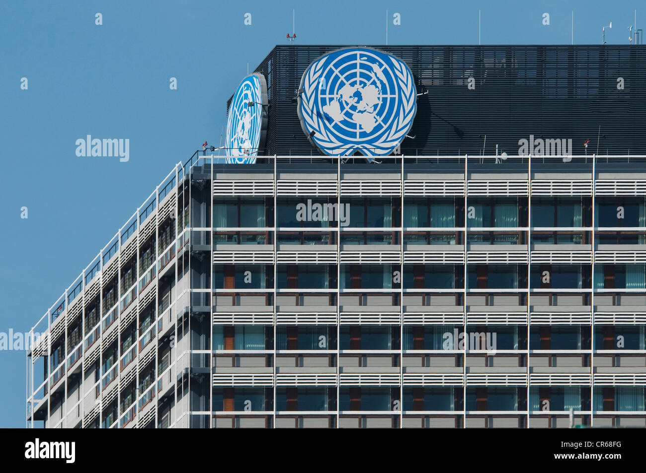 UN building with logo of the United Nations, Langer Eugen, building in the former government district of Bonn - Stock Image