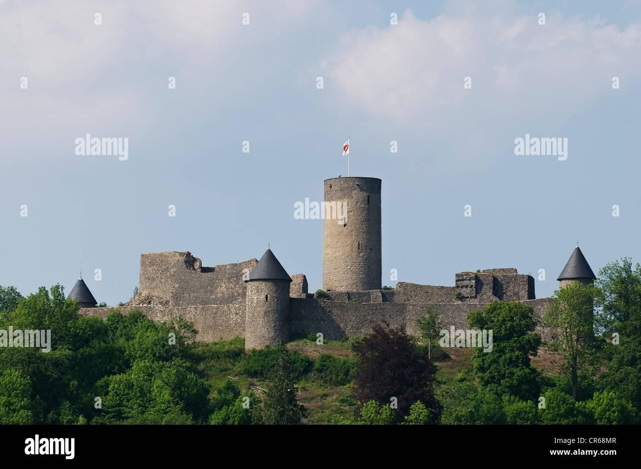 Nuerburg castle ruins, within the North Loop of the Nuerburgring named after it, Eifel, Adenau, Ahrweiler, Rhineland - Stock Image