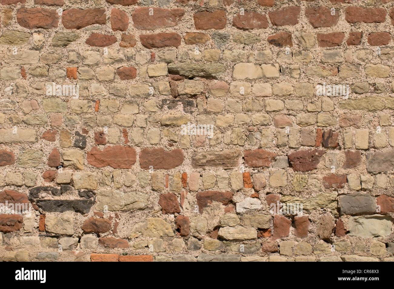 Repaired brick wall, background Stock Photo