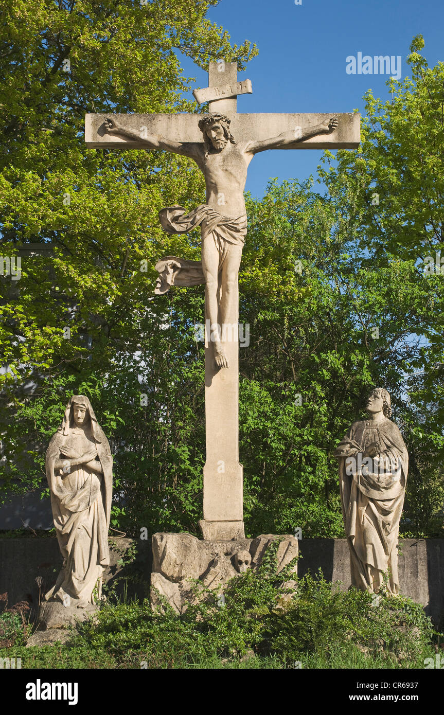 Late Gothic crucifixion group, masonry work, Trier, Rhineland-Palatinate, Germany, Europe - Stock Image