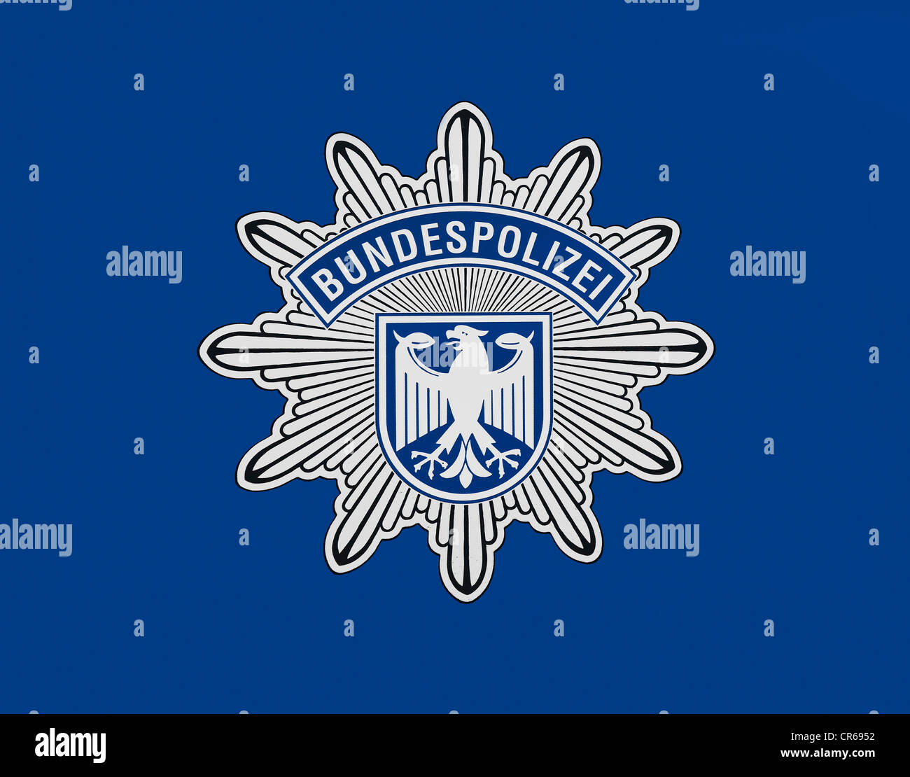 Coat of arms of the Federal Police on blue - Stock Image